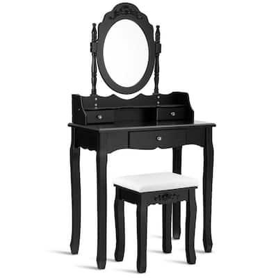 3-Piece Black Vanity Makeup Dressing Table Stool Set Jewelry Desk 3-Drawer Mirror