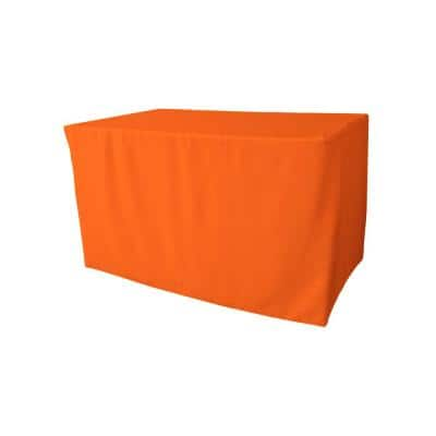 48 in. L x 30 in. W x 30 in. H Orange Polyester Poplin Fitted Tablecloth
