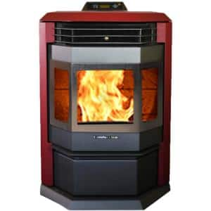 Burgundy 2800 sq. ft. EPA Certified Pellet Stove with 55 lbs. Hopper and Stainless Steel Door Trim
