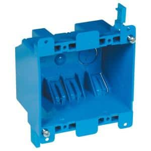 2-Gang 25 cu. in. Blue PVC Old Work Electrical Switch and Outlet Box
