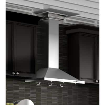 36 in. Convertible Vent Wall Mount Range Hood in Stainless Steel with Crown Molding