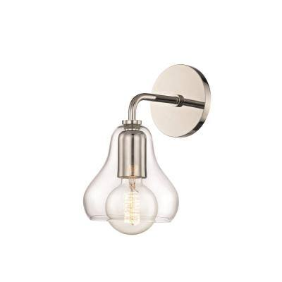 Sadie 1-Light Polished Nickel Small Wall Sconce with Clear Glass