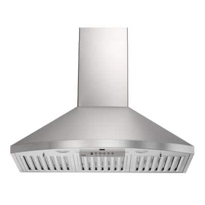 KOBE 36 in. 600 CFM Wall Mount Range Hood in Stainless Steel with Flame and Temp Sensors