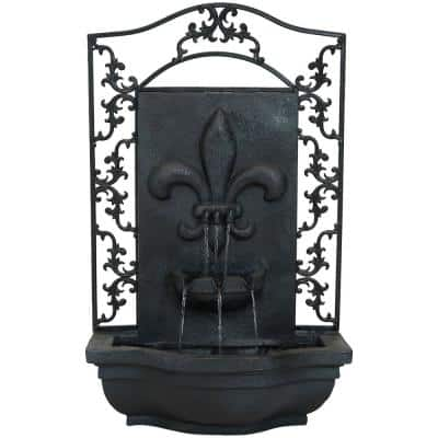 French Lily Resin Lead Solar-On-Demand Outdoor Wall Fountain