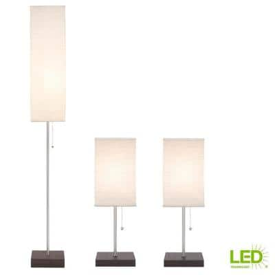60 in. 9.5-Watt Bronze Base LED Bulbs Included Paper Shade Combo Lamp Set (3-Piece)