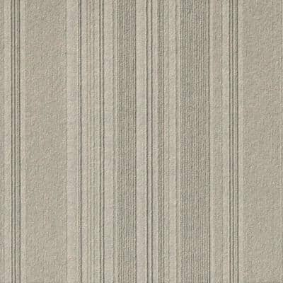 Peel and Stick First Impressions Barcode Rib Dove 24 in. x 24 in. Commercial Carpet Tile (15 Tiles/Case)