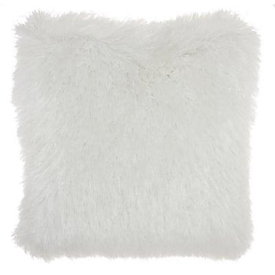 Shag White Plush Yarn Shimmer Shag 20 in. x 20 in. Throw Pillow