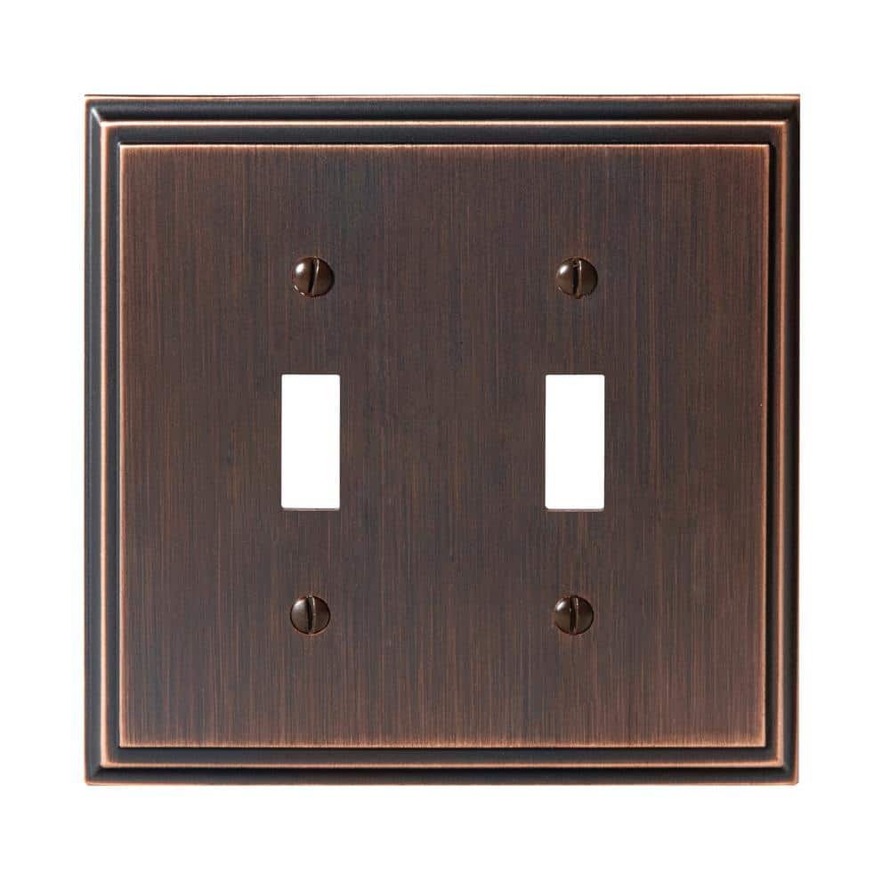 Amerock Bronze 2 Gang Toggle Wall Plate 1 Pack 1907001 The Home Depot