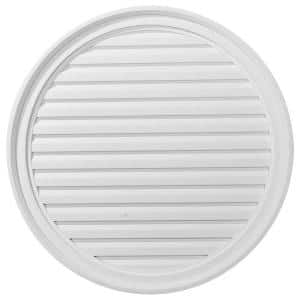 30 in. x 30 in. Round Primed Polyurethane Paintable Gable Louver Vent Functional