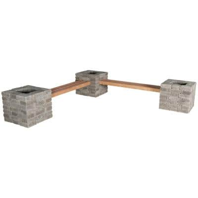 RumbleStone 114 in. x 24.5 in. x 17.5 in. Concrete Garden Bench/Planter Kit in Greystone