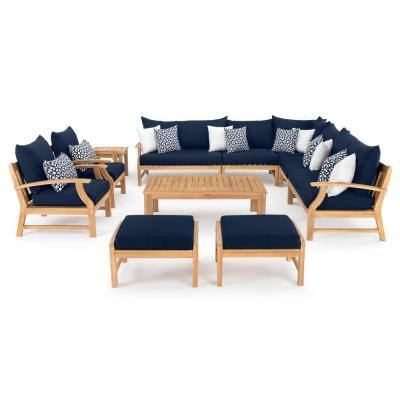 Kooper 11-Piece Wood Patio Deep Seating Conversation Set with Sunbrella Navy Blue Cushions