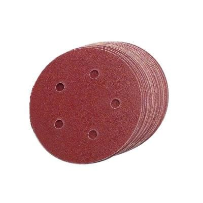 5 in. 5-Hole 100-Grit Premium Heavy F-Weight Aluminum Oxide Hook and Loop Sanding Discs (50 per Box)