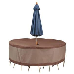 Ultimate 96 in. L x 96 in. W x 29 in. H Round Table and Chair Set Cover with Umbrella Hole