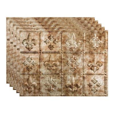 Fleur de Lis 18 in. x 24 in. Bermuda Bronze Vinyl Decorative Wall Tile Backsplash 15 sq. ft. Kit