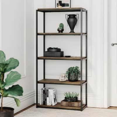 Oscar 59 in. Nutmeg/Black Wood and Metal 5-Shelf Modern Etagere Bookcase with Storage Shelves