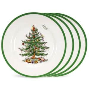 Christmas Tree 4-Piece Ceramic 8 in. Salad Plates (Service for 4)