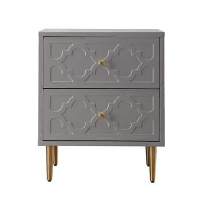 Grey Floral Pattern 2-Drawer Chest of Drawers with Sturdy Metal Golden Legs