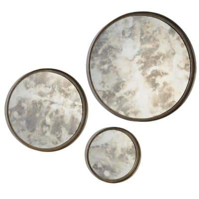 Medium Round Antique Silver Shatter Resistant Contemporary Mirror (20 in. H x 20 in. W)
