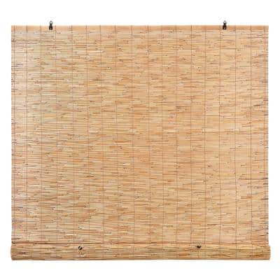 Reed 48 in. W x 72 in. L Natural Bamboo Reed Light-Filtering Roman Shades Manual Roll-Up Window Shade Blinds