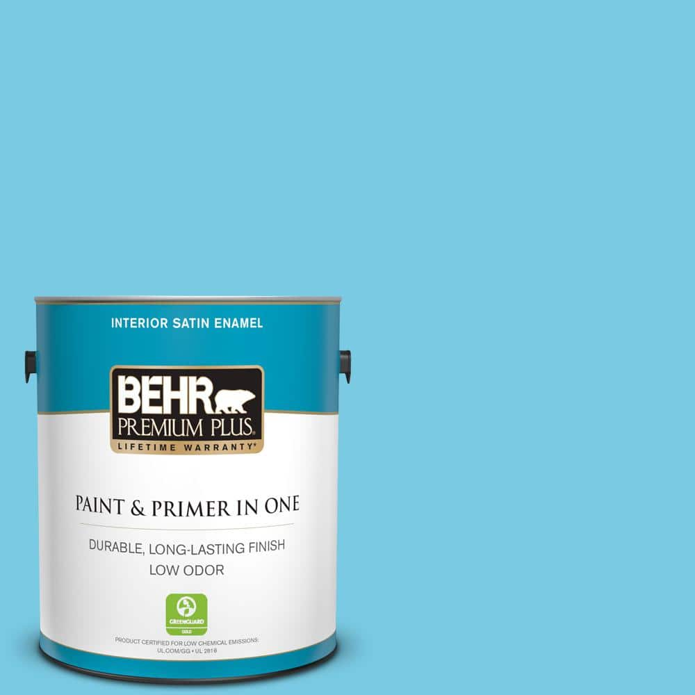 Behr Premium Plus 1 Gal P490 3 Big Chill Satin Enamel Low Odor Interior Paint And Primer In One 705001 The Home Depot