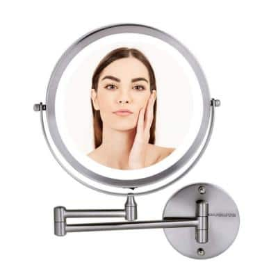 13.2 in. H x 1.6 in. W, Small Round Nickel Brushed Lighted Framed Modern Vanity Mirror, 1x 10x Magnification