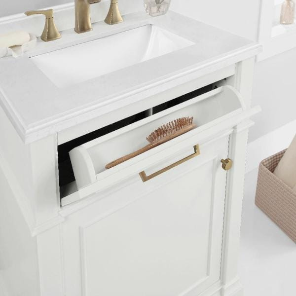 Home Decorators Collection Melpark 24 In W X 20 In D Bath Vanity In White With Cultured Marble Vanity Top In White With White Sink Melpark 24w The Home Depot