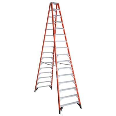 16 ft. Fiberglass Twin Step Ladder with 300 lb. Load Capacity Type IA Duty Rating