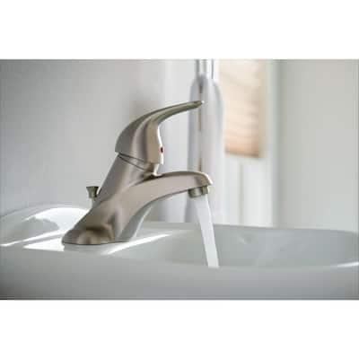 Adler 4 in. Centerset Single-Handle Low-Arc Bathroom Faucet in Spot Resist Brushed Nickel