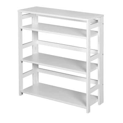 34 in. White Wood 3-shelf Foldable Standard Bookcase