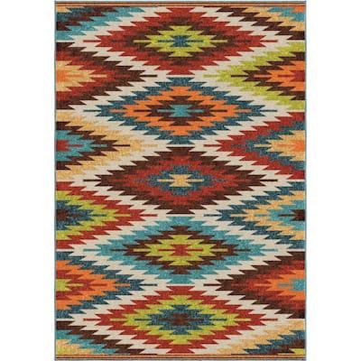 Prescott Multi Aztec 5 ft. x 8 ft. Indoor/Outdoor Area Rug
