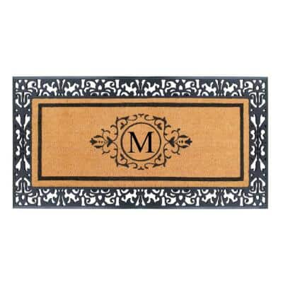 A1HC Floral Border Paisley Black 30 in. x 60 in. Rubber and Coir Monogrammed M Door Mat