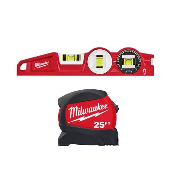 Milwaukee 25 ft. x 1.2 in. Compact Wide Blade Tape Measure with 12 ft. Standout and Torpedo Level | The Home Depot