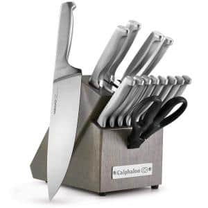 Classic 15-Piece Self-Sharpening Stainless Steel Cutlery Knife and Block Set with Sharp in Technology