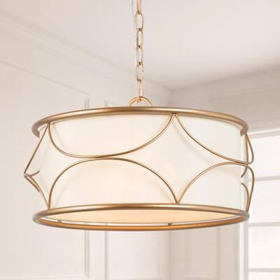Brass Drum Cage Chandelier Imogen 3-Light Modern Farmhouse Gold Round Pendant Light with Fabric Shade