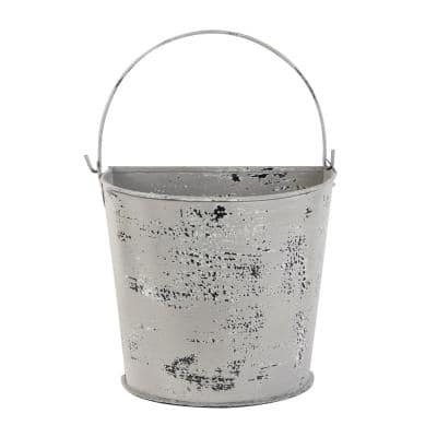 11.5 in. x 10 in. Farmhouse Style Distressed White Metal Bucket Planter with Handle