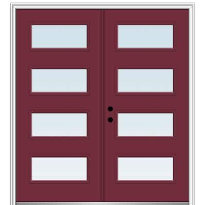 72 in. x 80 in. Celeste Right-Hand Inswing 4-Lite Clear Low-E Painted Fiberglass Smooth Prehung Front Door