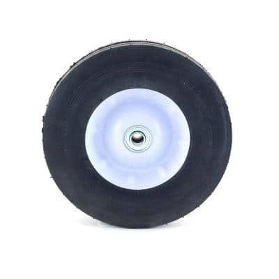 10 in. x 2.75 in. Flat Free Universal Hand Truck Wheel with 5/8 in. Ball Bering and Ribbed Tread