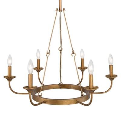 Brass Wagon Wheel Chandeliers Lighting The Home Depot