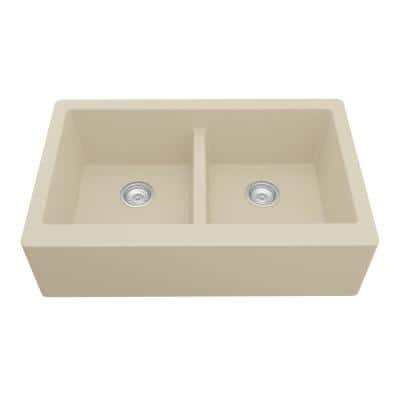Farmhouse Apron Front Quartz Composite 34 in. Double Bowl Kitchen Sink in Bisque