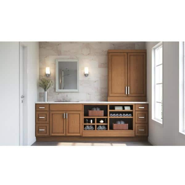 Hampton Bay Hampton Assembled 36x34 5x24 In Sink Base Kitchen Cabinet In Medium Oak Ksb36 Mo The Home Depot