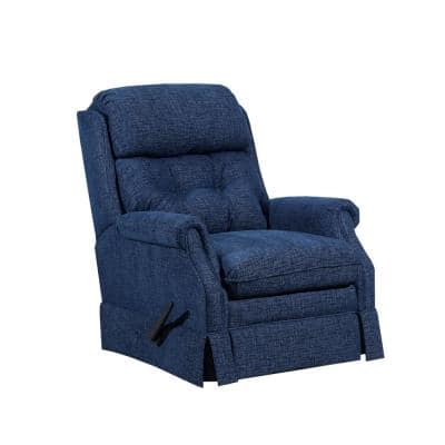 Bennington 33 in. Width Big and Tall Blue Chenille Rocking Zero Gravity Recliner