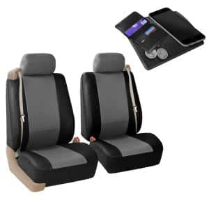 Fh Group Pu Leather 47 In X 23 In X 1 In All Purpose Built In Seatbelt Compatible Half Set Front Seat Covers Dmpu309grblk102 The Home Depot