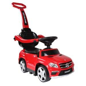 Baby 4-in-1 Mercedes Push Car Stroller with LED Lights, Red