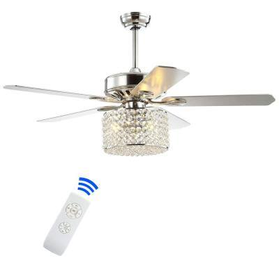 Brandy 52 in. Chrome 3-Light Crystal Prism Drum LED Ceiling Fan with Light and Remote