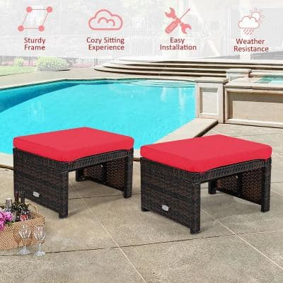 2-Piece Patio Rattan Ottoman Cushioned Seat Foot Rest Furniture in Red