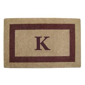 Single Picture Frame Brown 30 in. x 48 in. Heavy Duty Coir Monogrammed K Door Mat