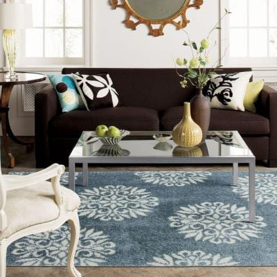 Exploded Medallions Blue Woven 8 ft. x 10 ft. Indoor Area Rug