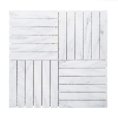 Hudson Carrara White 11.875 in. x 11.875 in. Square Honed Carrara Marble Wall and Floor Mosaic Tile (0.979 sq. ft./Each)