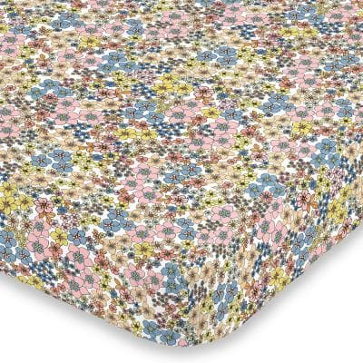 Retro Floral Blue Pink Yellow and Peach Super Soft Mini Polyester Crib Sheet