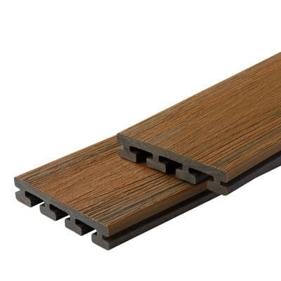 Infinity IS 1 in. x 6 in. x 8 ft. Oasis Palm Brown Composite Grooved Deck Boards (2-Pack)